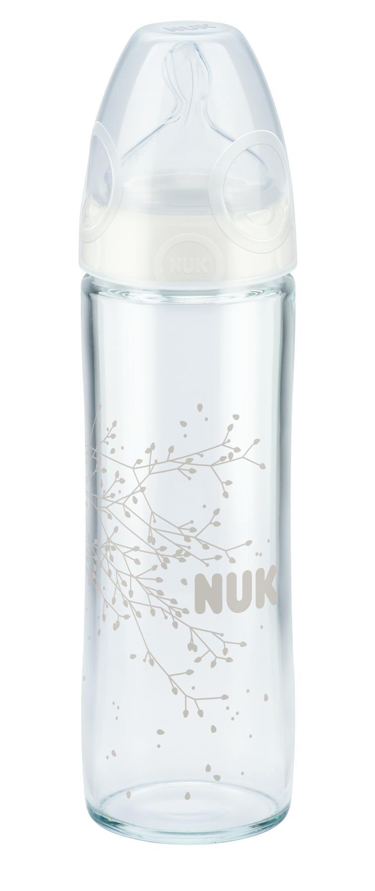 NUK New Classic láhev Love sklo, silikon, vel. 1, průtok M, 240 ml