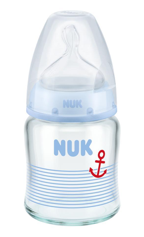 NUK First Choice láhev sklo, silikon, vel. 1, průtok M, 120 ml Varianta: modrá