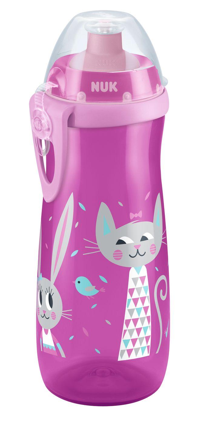 NUK First Choice láhev PP Sports Cup, silikon push-pull pítko, 450 ml Varianta: růžová