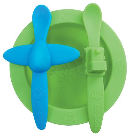 Oogaa Sada nádobí Varianta: zelená miska, modrá lžička letadélko, zelená lžička vláček