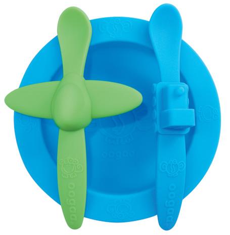 Oogaa Sada nádobí Varianta: modrá miska, zelená lžička letadélko, modrá lžička vláček