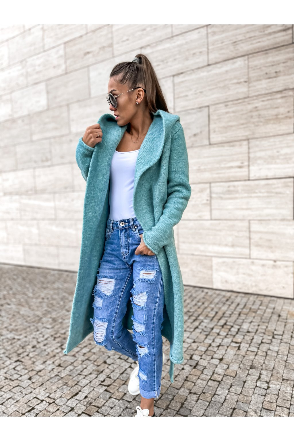 damsky cardigan s kapuci long ocean blue shopat cz 1