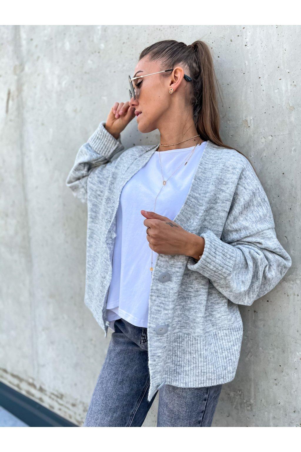 damsky svetr s knofliky grey eshopat cz 1