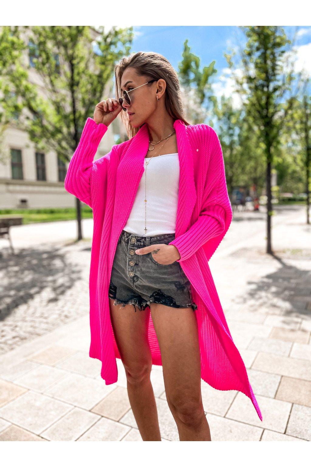damsky cardigan maroco neon pink eshopat cz 1