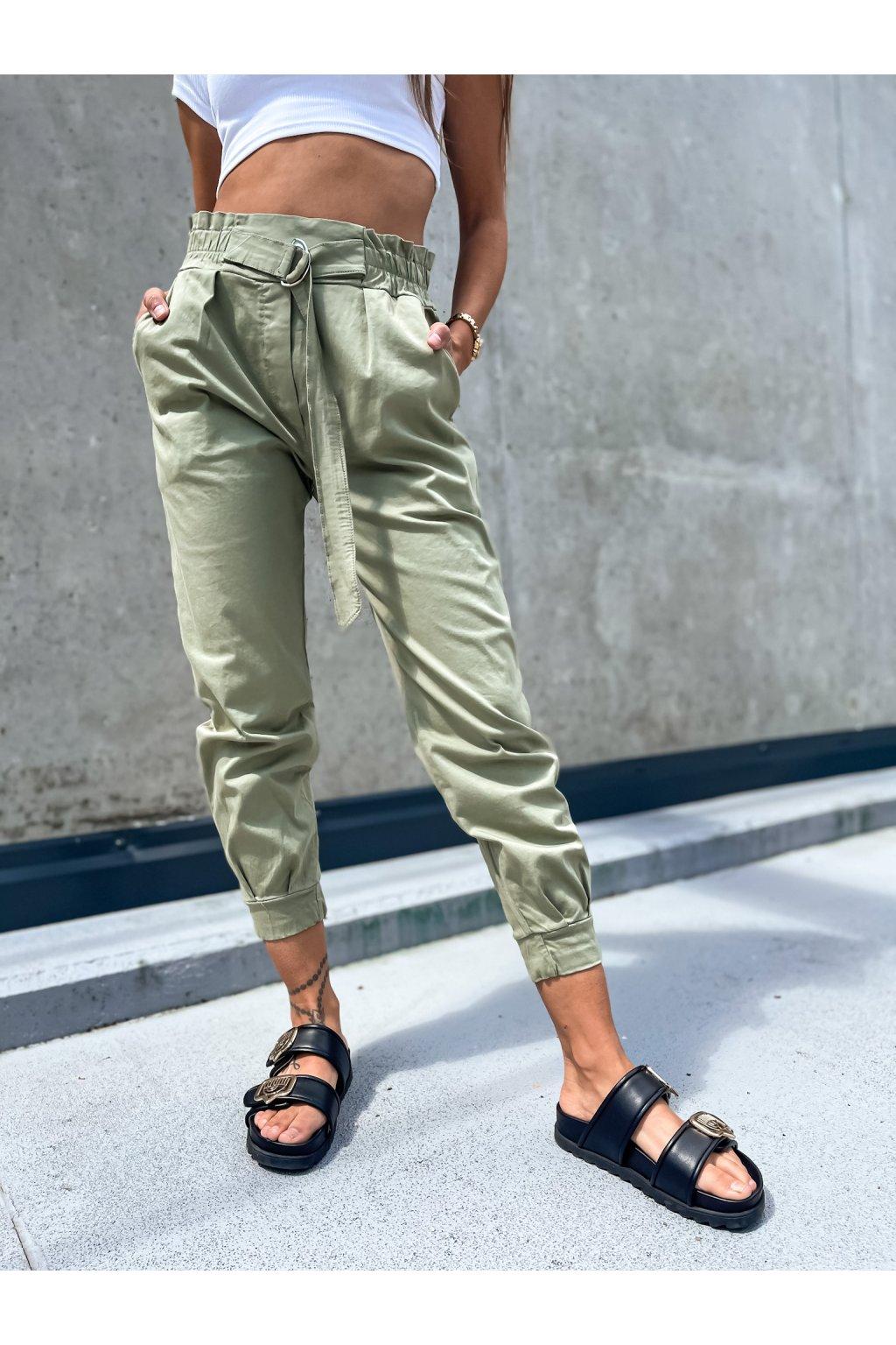 damske kalhoty s vysokym pasem italy light khaki eshopat cz 2