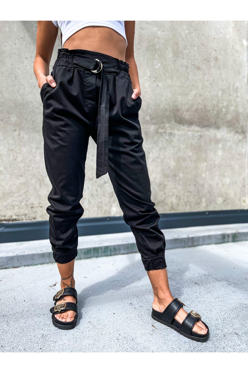damske kalhoty s vysokym pasem italy black eshopat cz 1