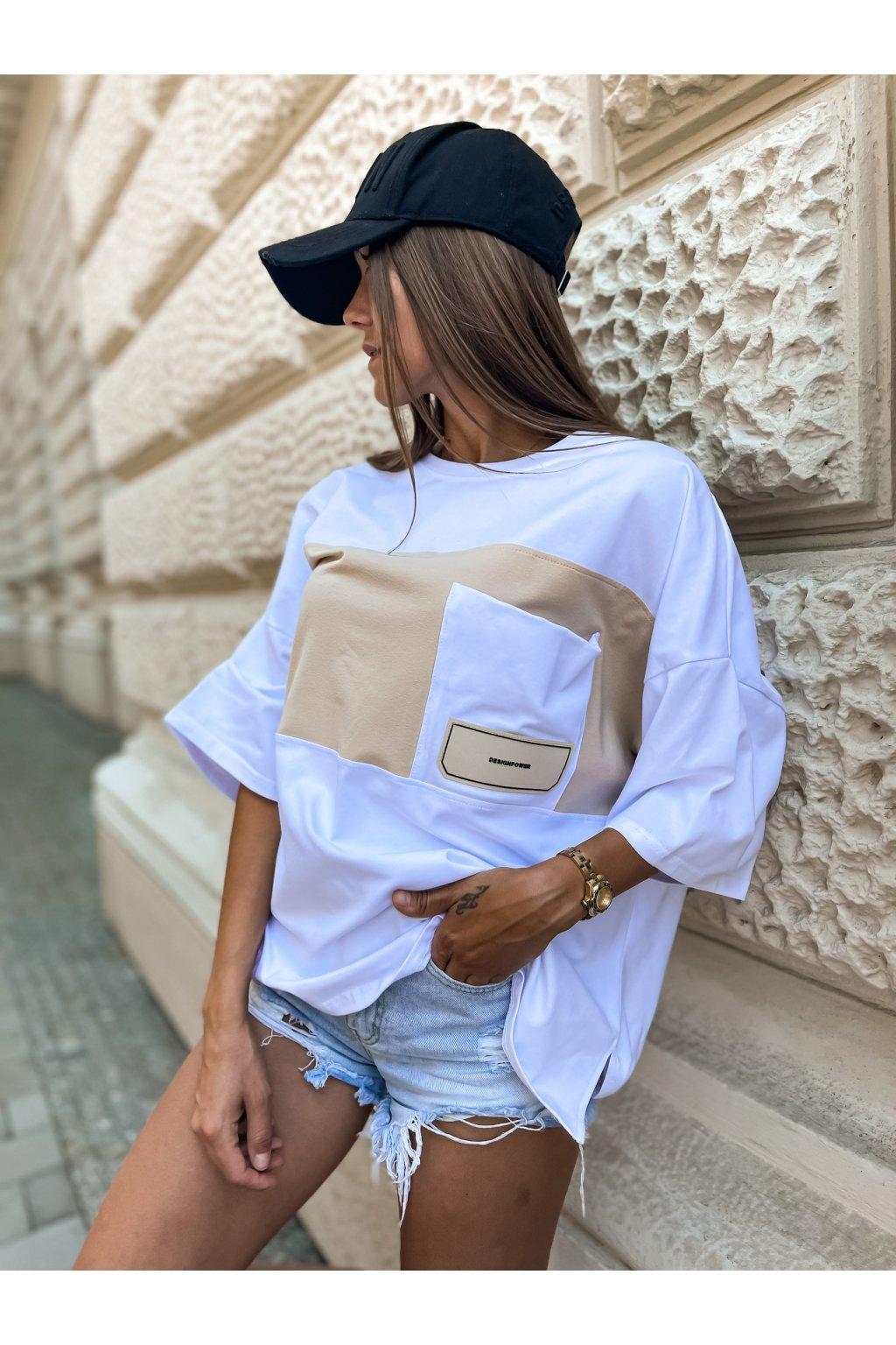 damske oversize tricko s kapsou design white beige eshopat cz 1