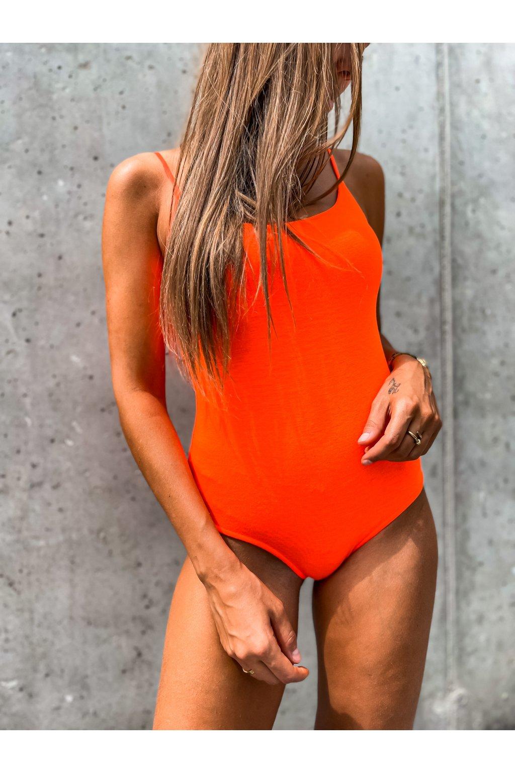 damsky body na raminka neon orange eshopat cz 2