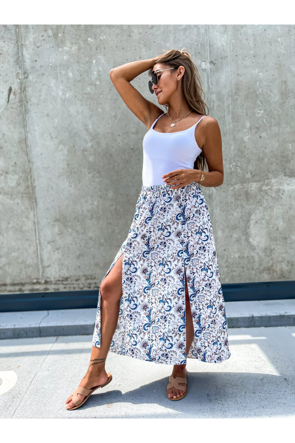 damska sukne s rozparky flowers white eshopat cz 2