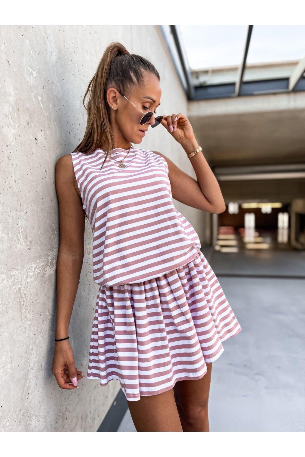 damske saty milia stripe pink eshopat cz 1