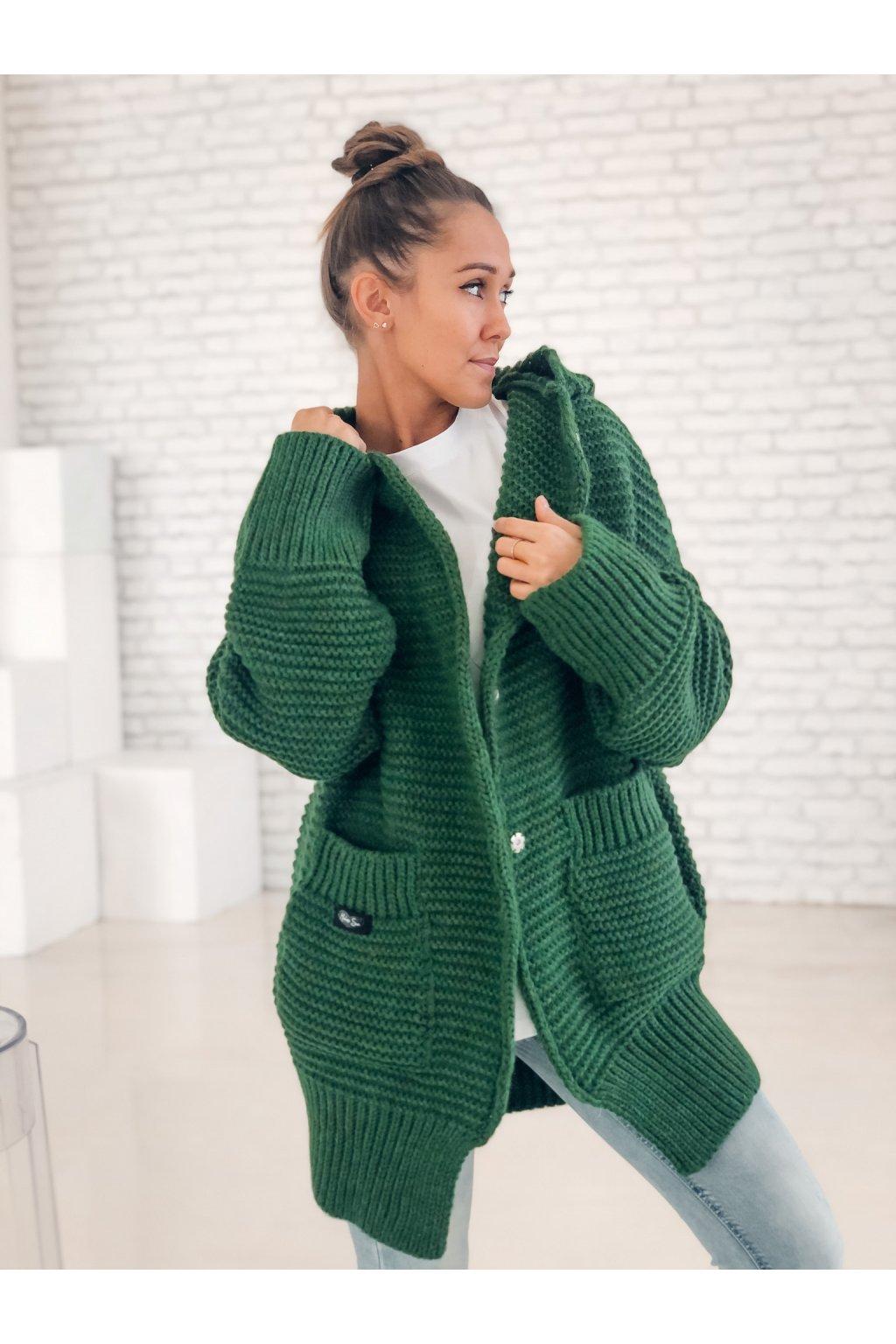 damsky cardigan maxi green eshopat cz 1