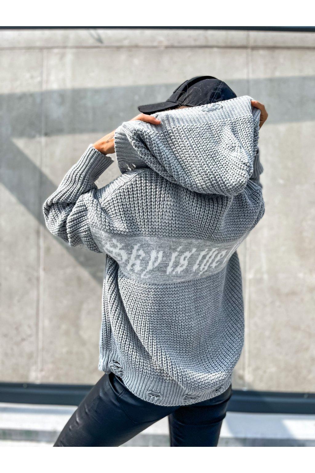 damsky trhany svetr na zip limit grey eshopat cz 1