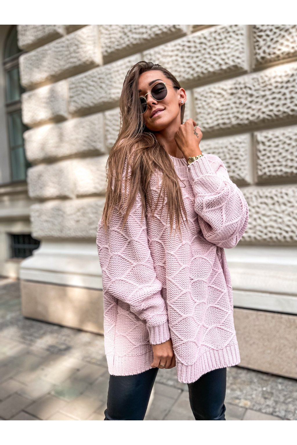 damsky svetr winnie powder pink eshopat cz 1