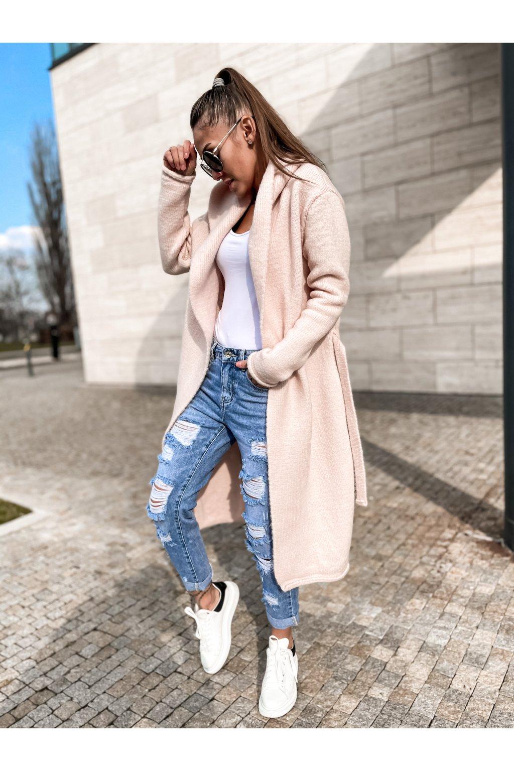 damsky cardigan s kapuci long light pink eshopat cz 1