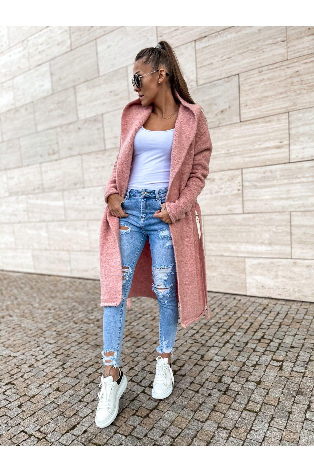damsky cardigan s kapuci long powder pink eshopat cz 3