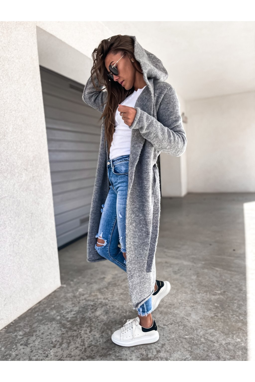 damsky cardigan s kapuci long dark grey eshopat cz 1
