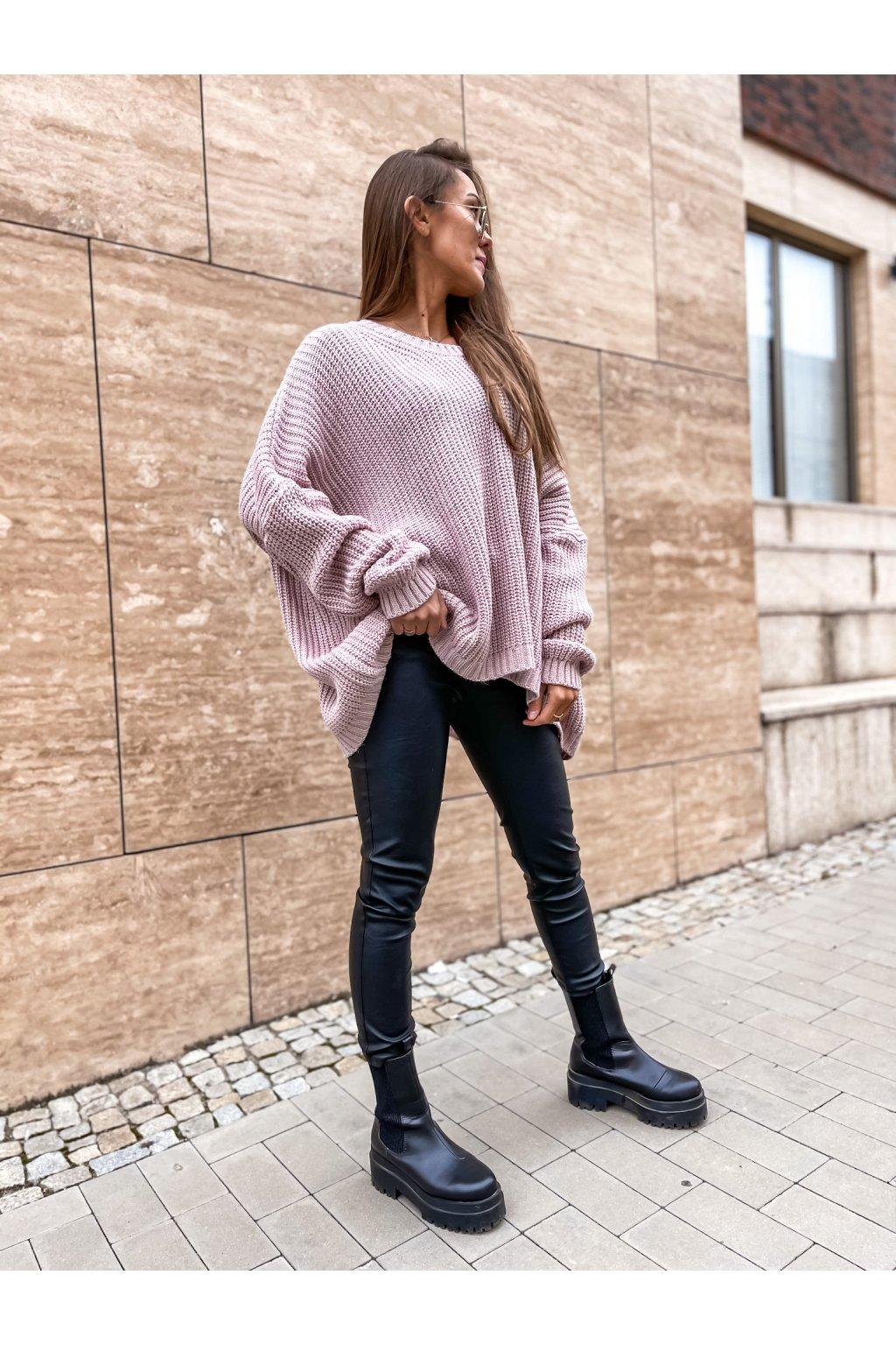 damsky oversize svetr annie powder pink eshopat cz 1