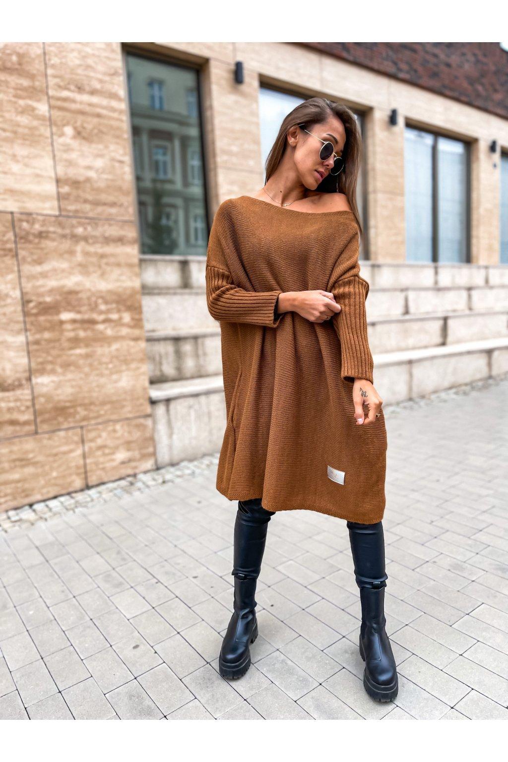 damsky svetr long brown eshopat cz 1