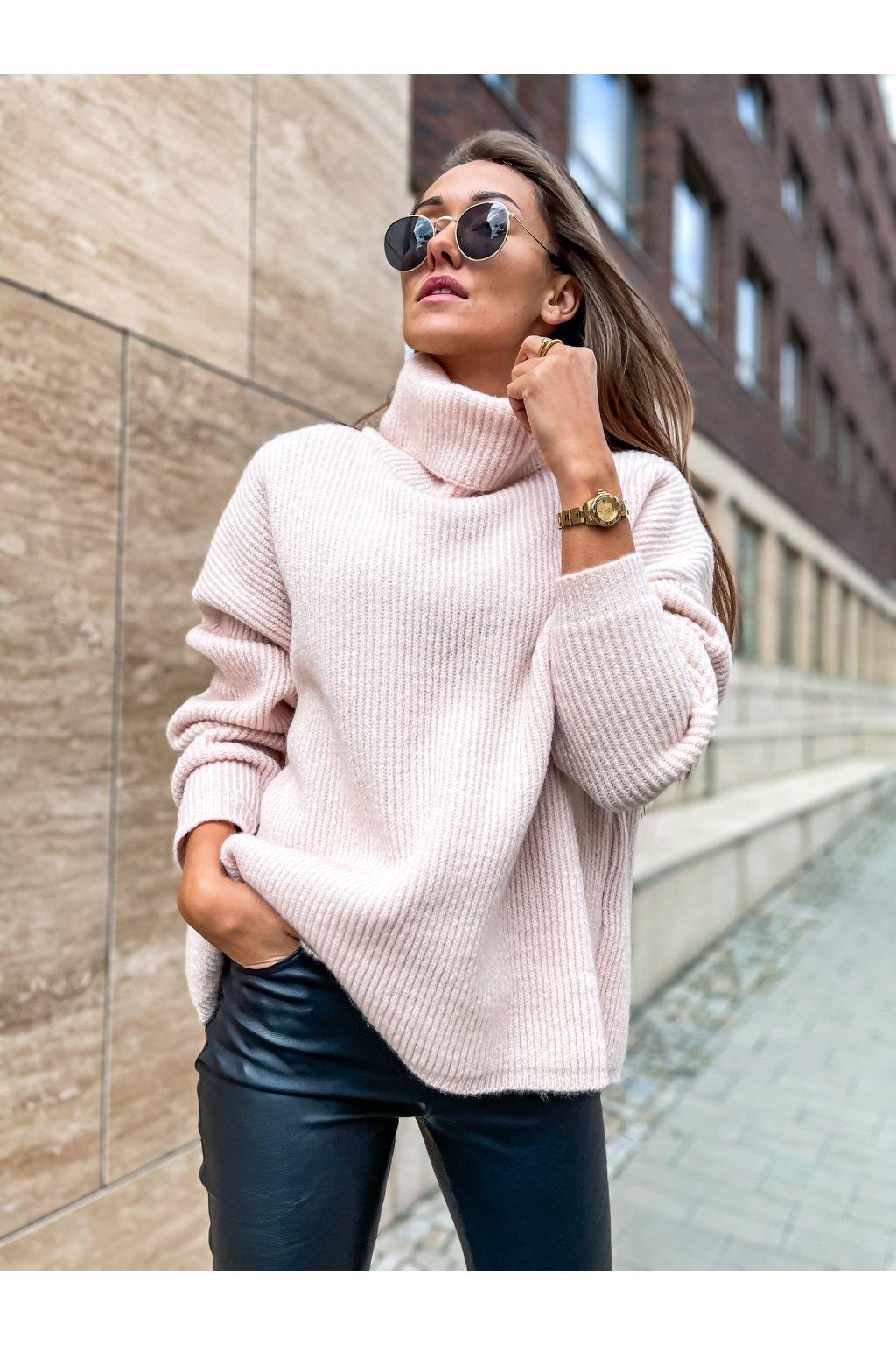 damsky svetr s rolakem light pink eshopat cz 5