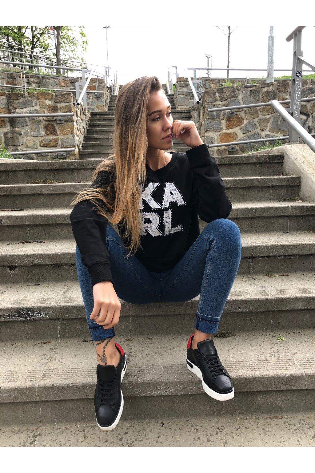 karl lagerfeld karl lace block letters sweatshirt black eshopat cz 1