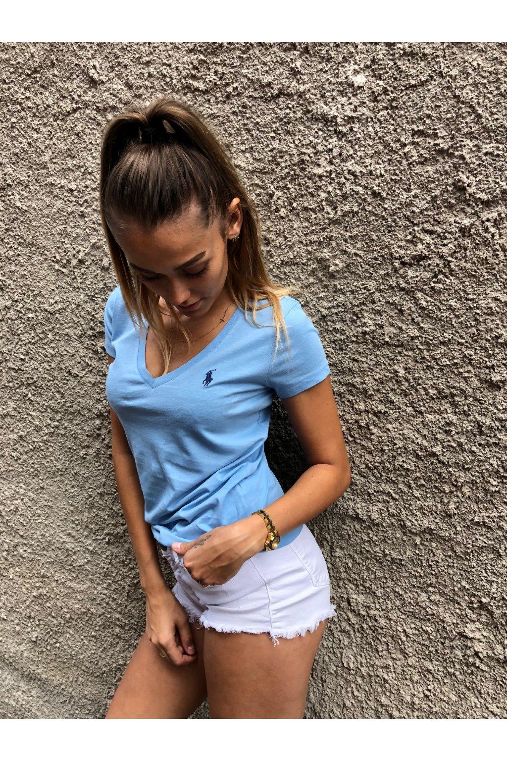 damske tricko ralph lauren basic vneck blue eshopat cz 2