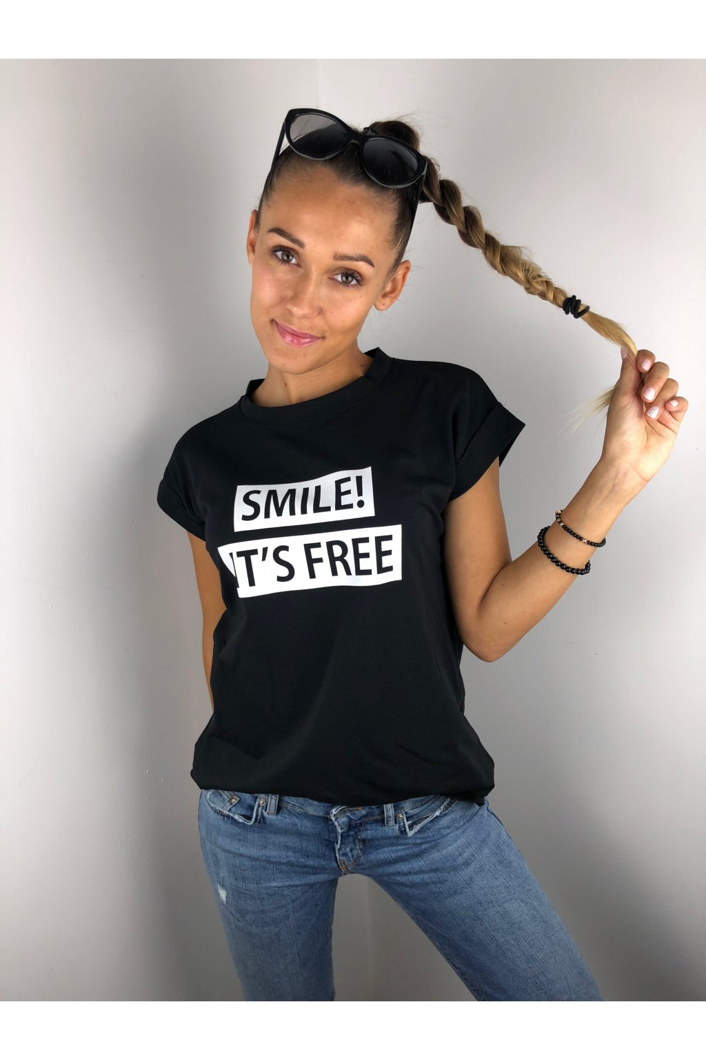 damske tricko smile it s free black eshopat cz 1