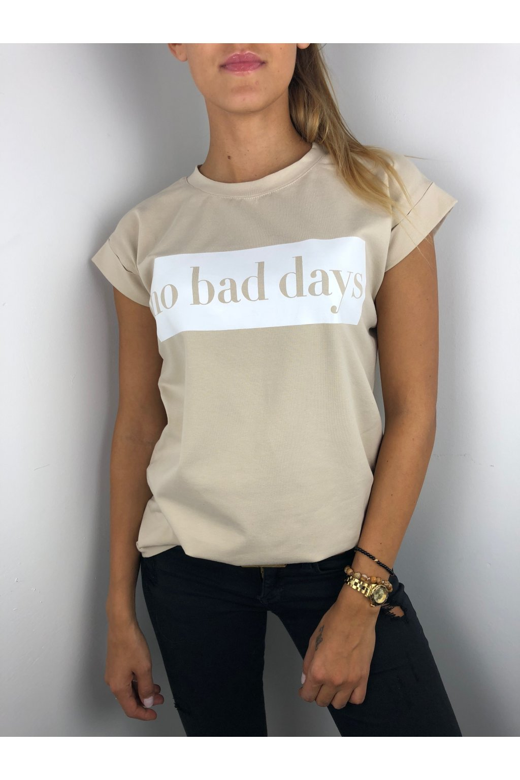 damske tricko no bad days beige eshopat cz 1