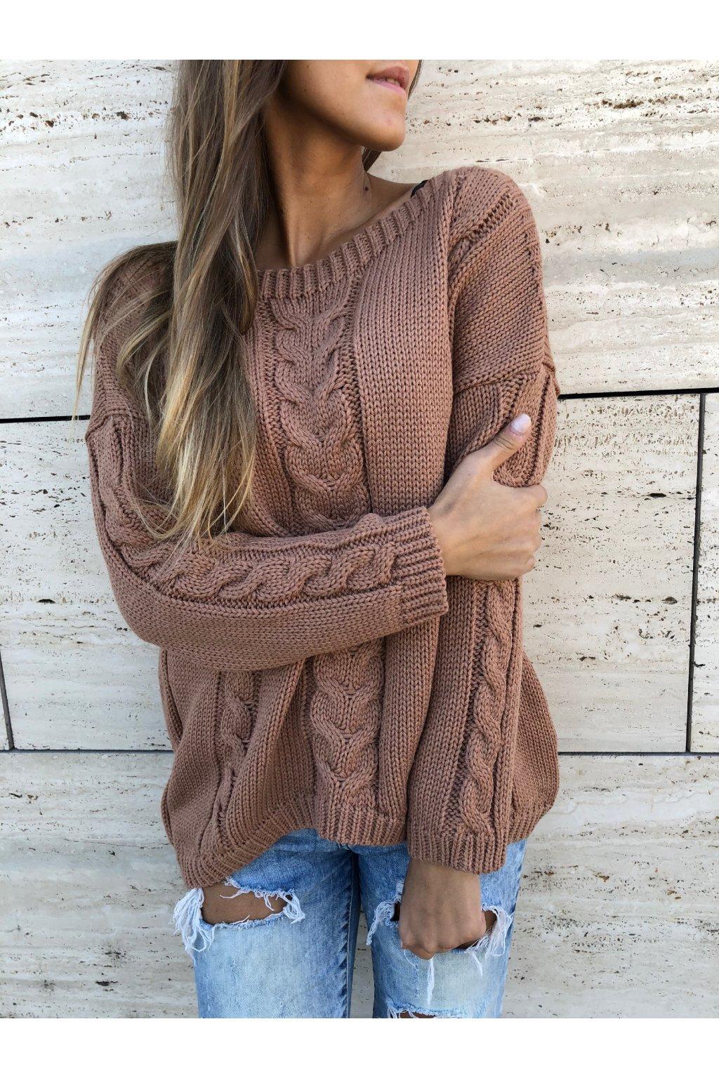 damsky svetr s copankovym vzorem caramel eshopat cz 1