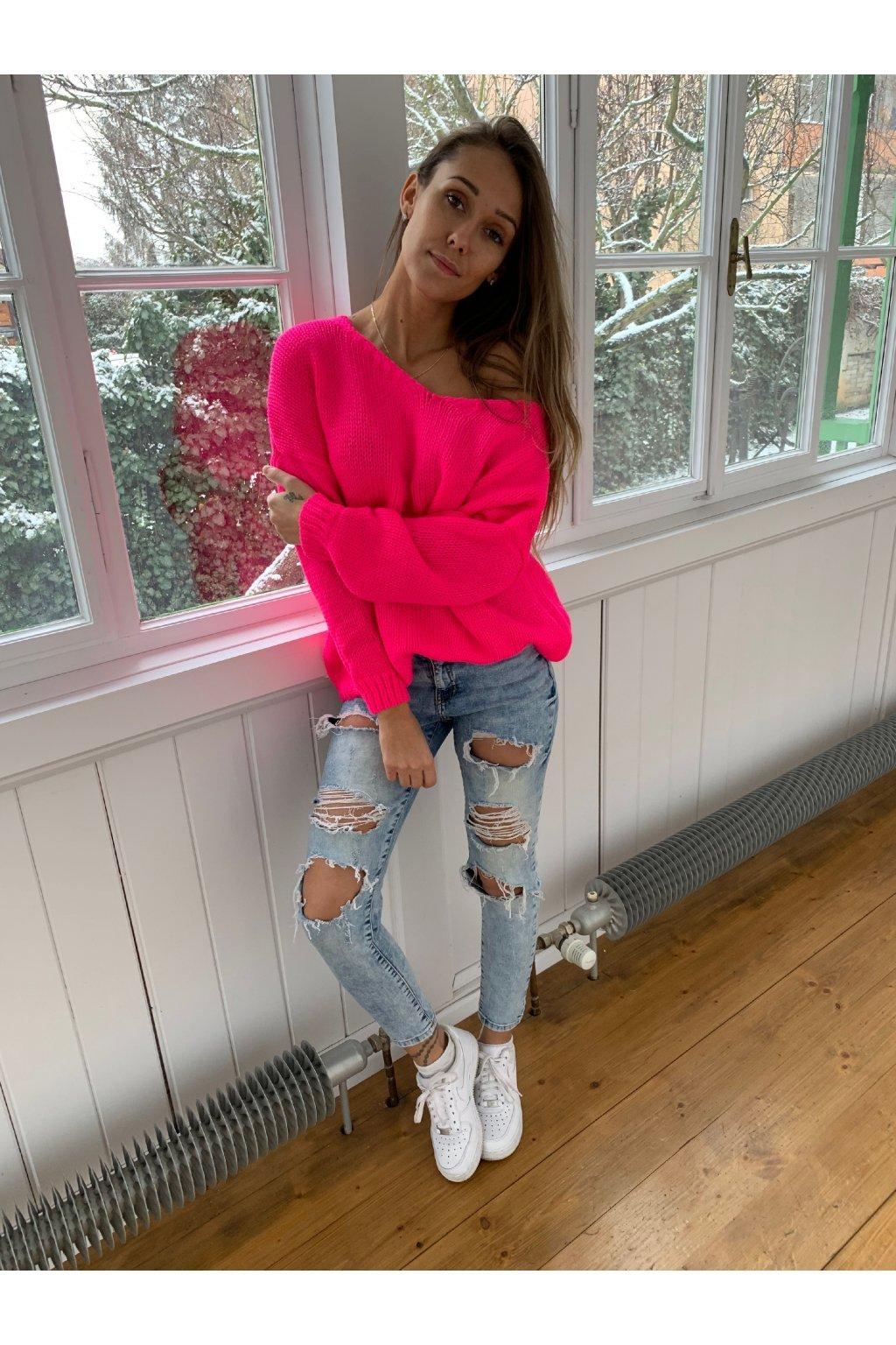damsky svetr v classic neon pink eshopat cz 1