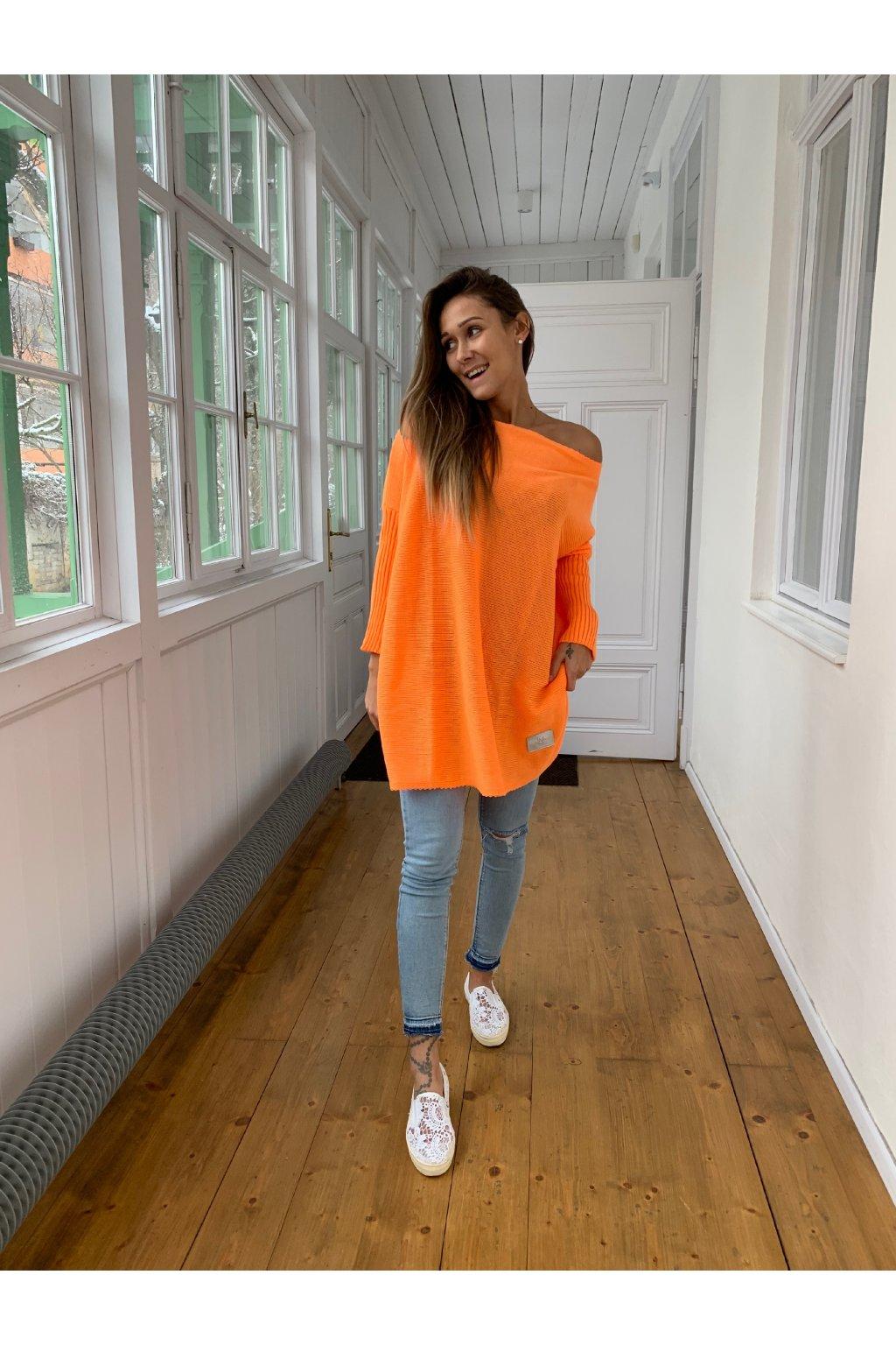 damsky svetr long neon orange eshopat cz 1