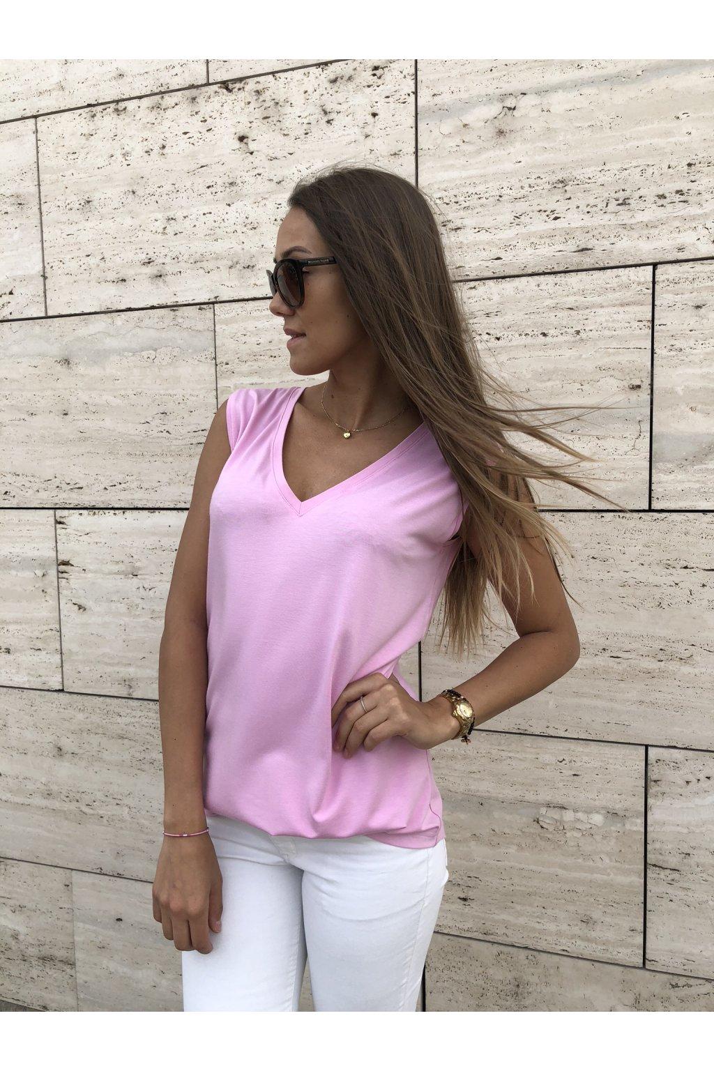 damske tilko bamboo classic v neck pink eshopat cz 1