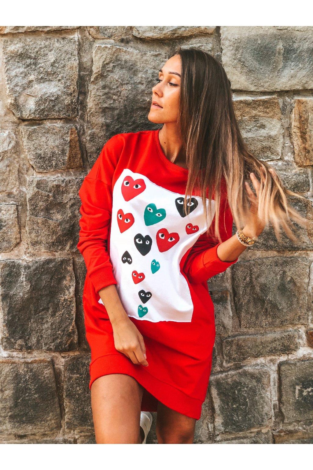 damska prodlouzena mikina hearts red eshopat cz 1