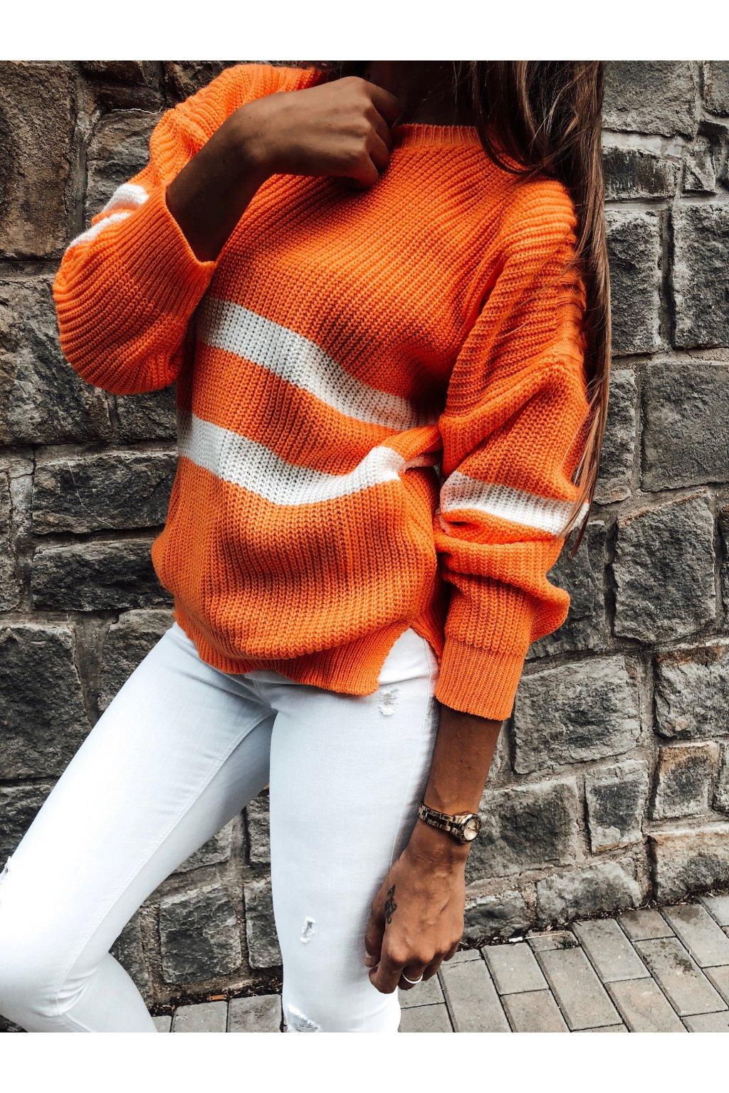 damsky svetr two stripes neon orange eshopat cz 1