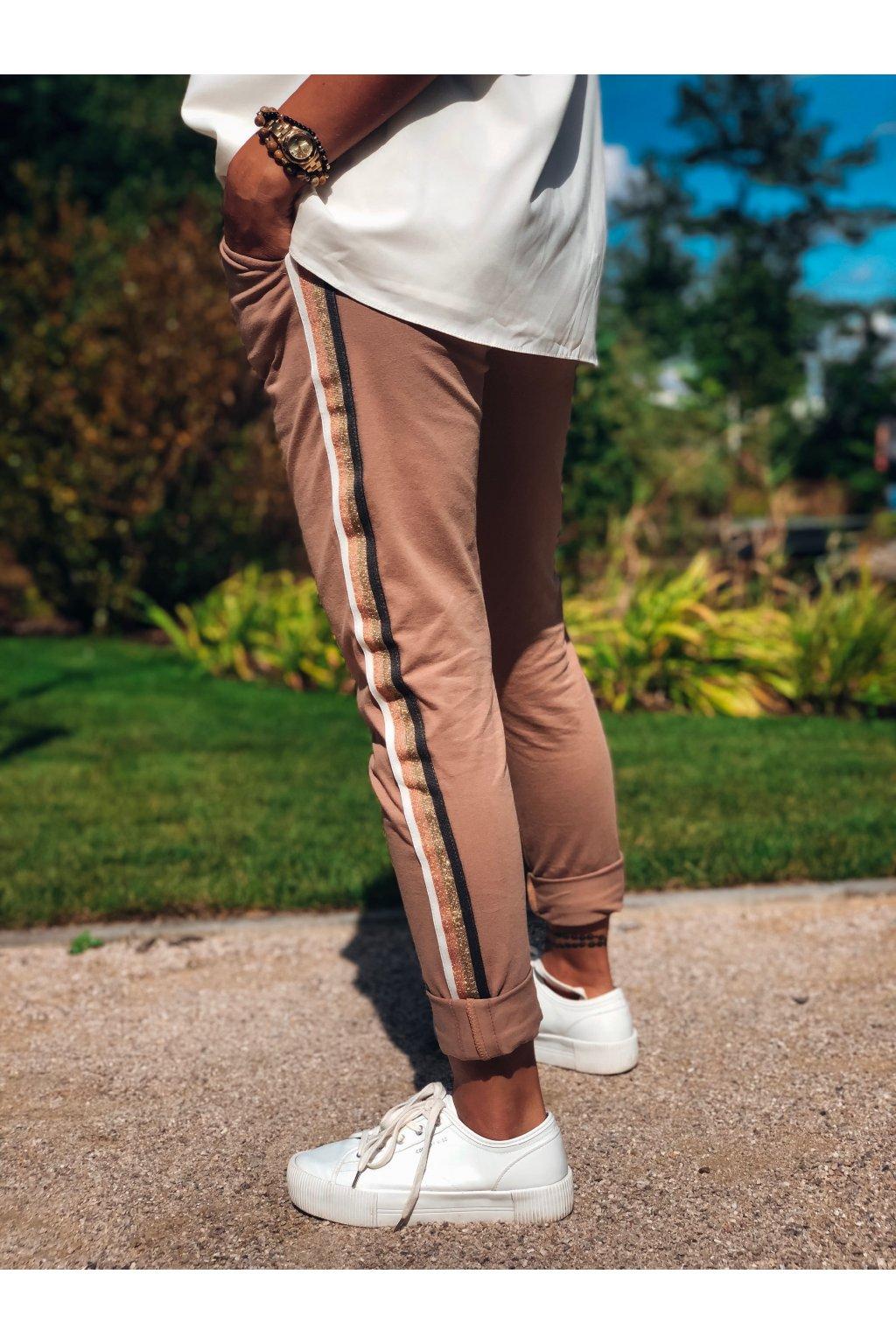 damske teplakove kalhoty stripes caramel eshopat cz 1
