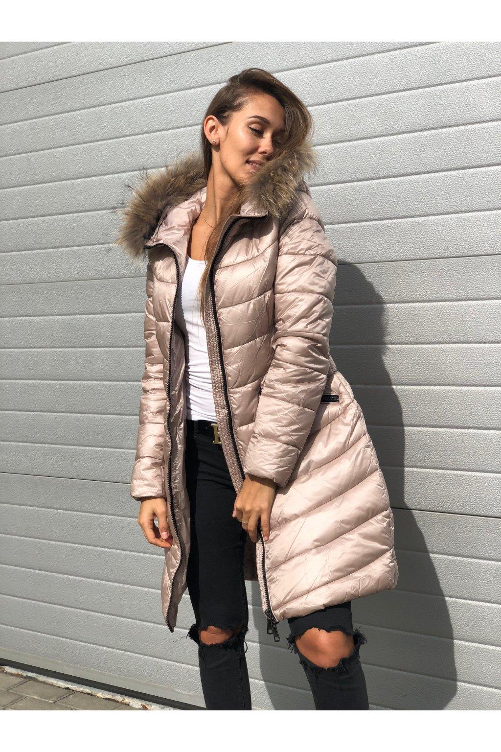 damska bunda furry beige pink eshopat cz 3