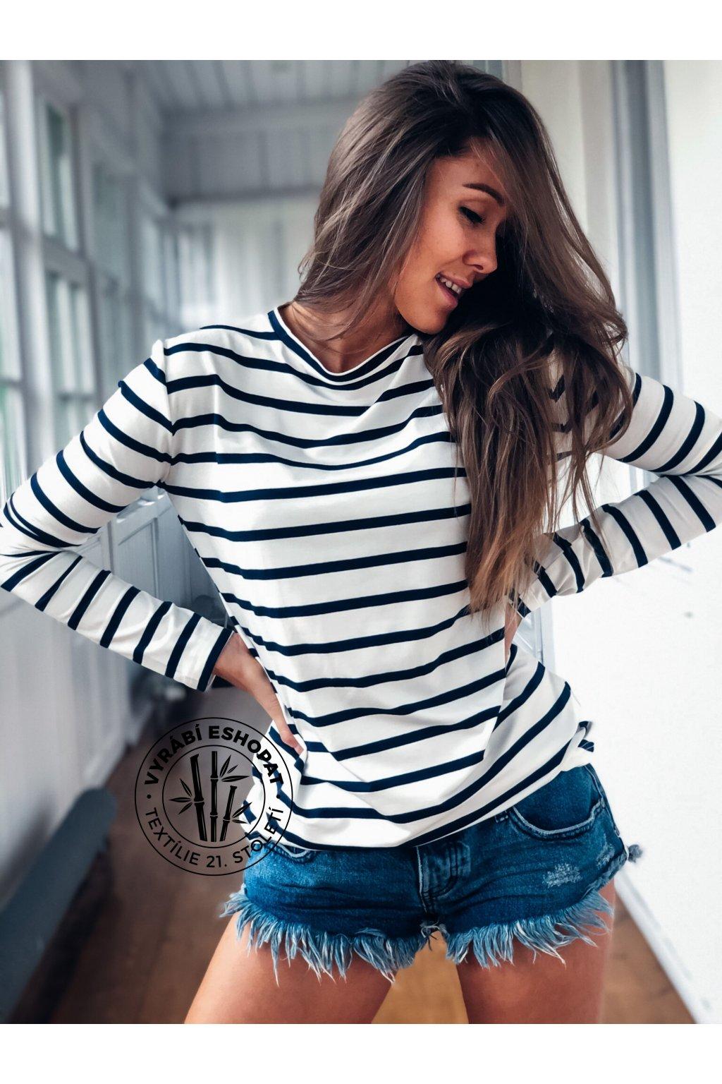 eshopat cz damske tricko bamboo long sleeve stripe navy