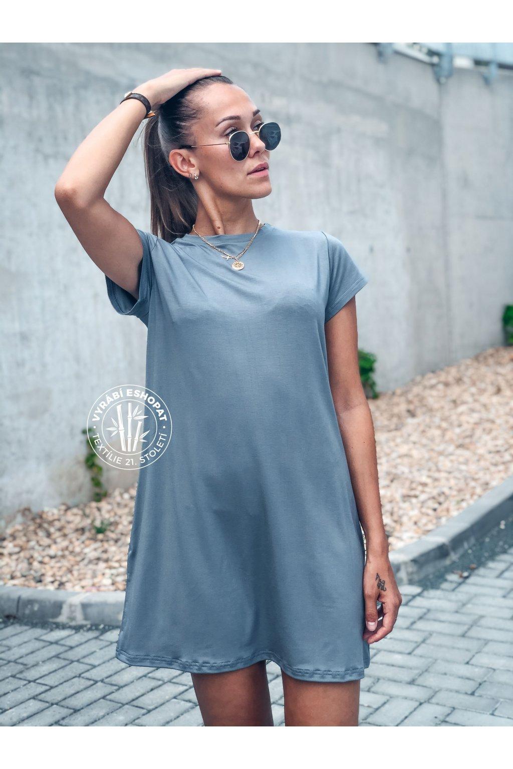 eshopat cz damske saty basic bamboo short sleeve grey