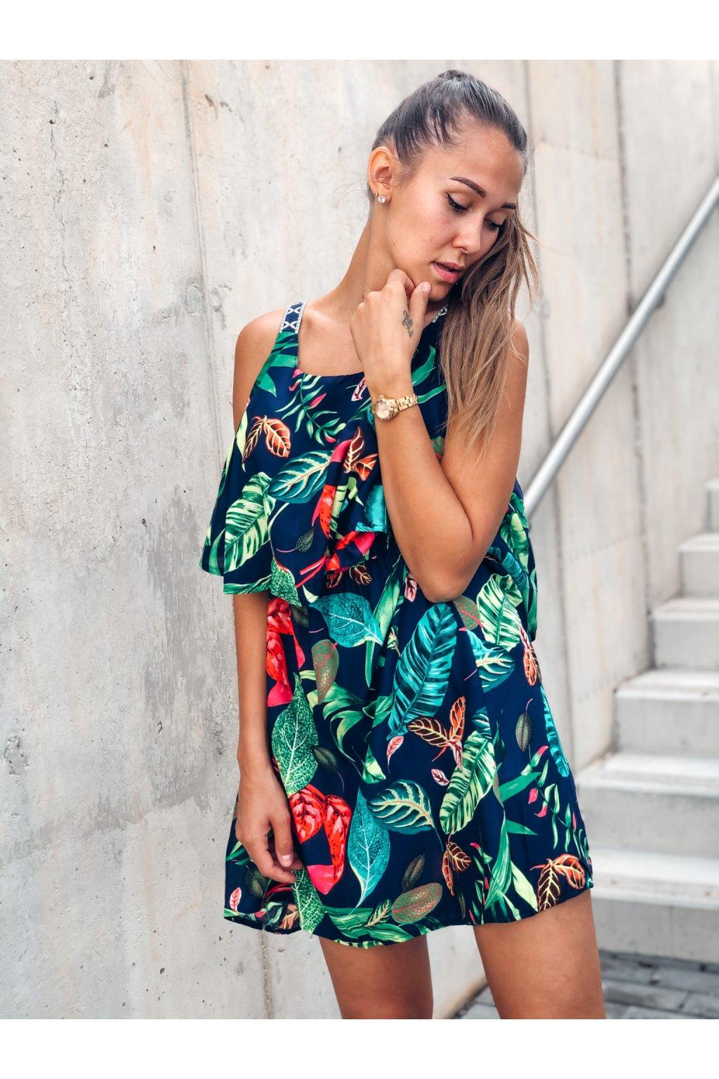 damske saty flowers navy blue eshopat cz 1