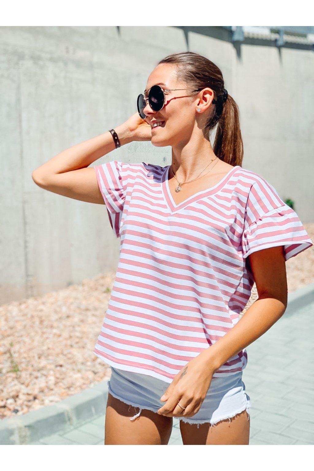 damske tricko s volanovymi rukavy stripe pink eshopat cz 1