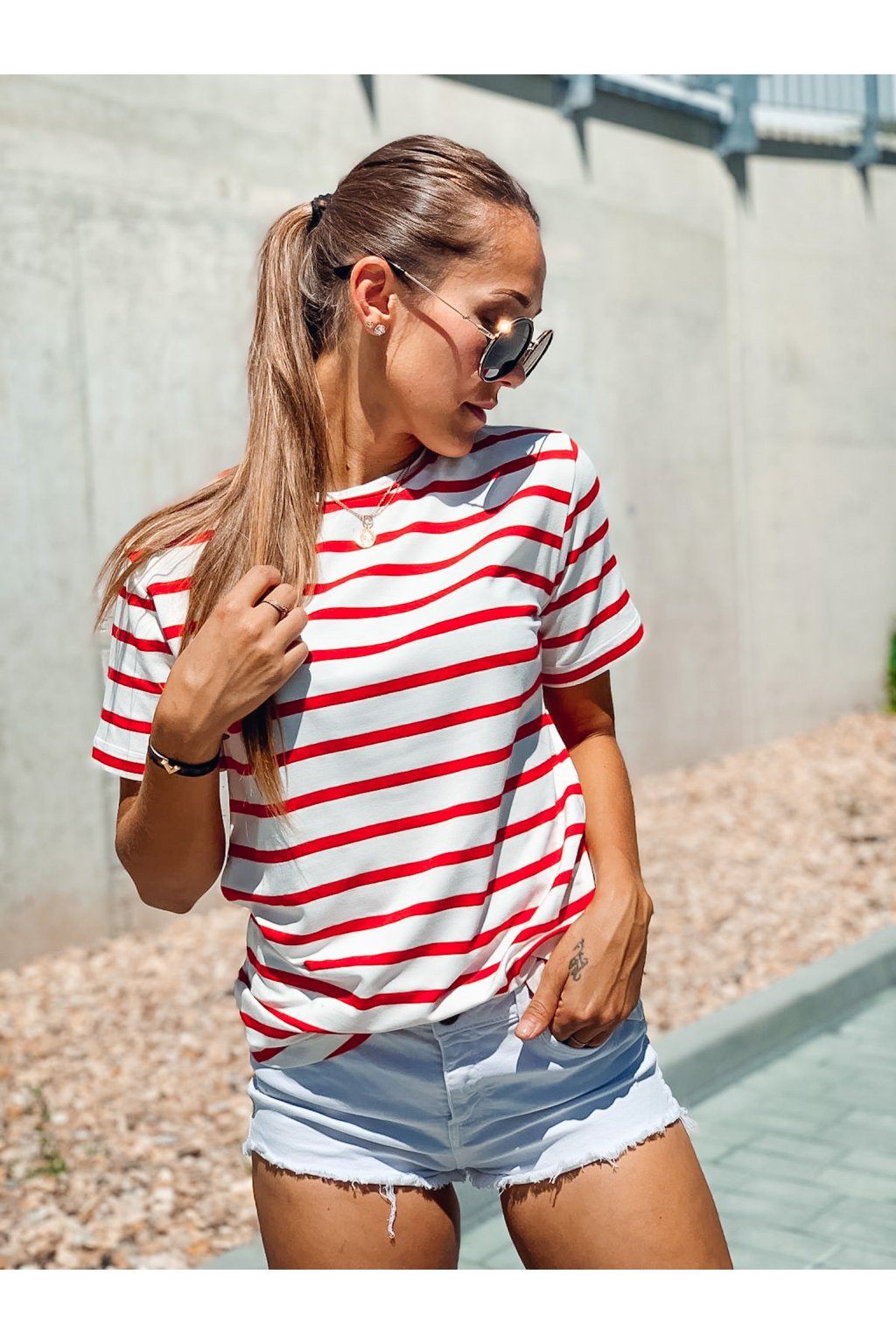 damske tricko bamboo short long sleeve stripe red eshopat cz 1