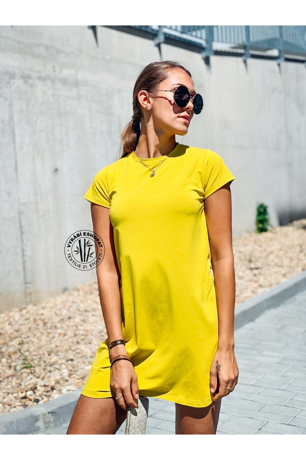 eshopat cz damske saty basic bamboo short sleeve yello