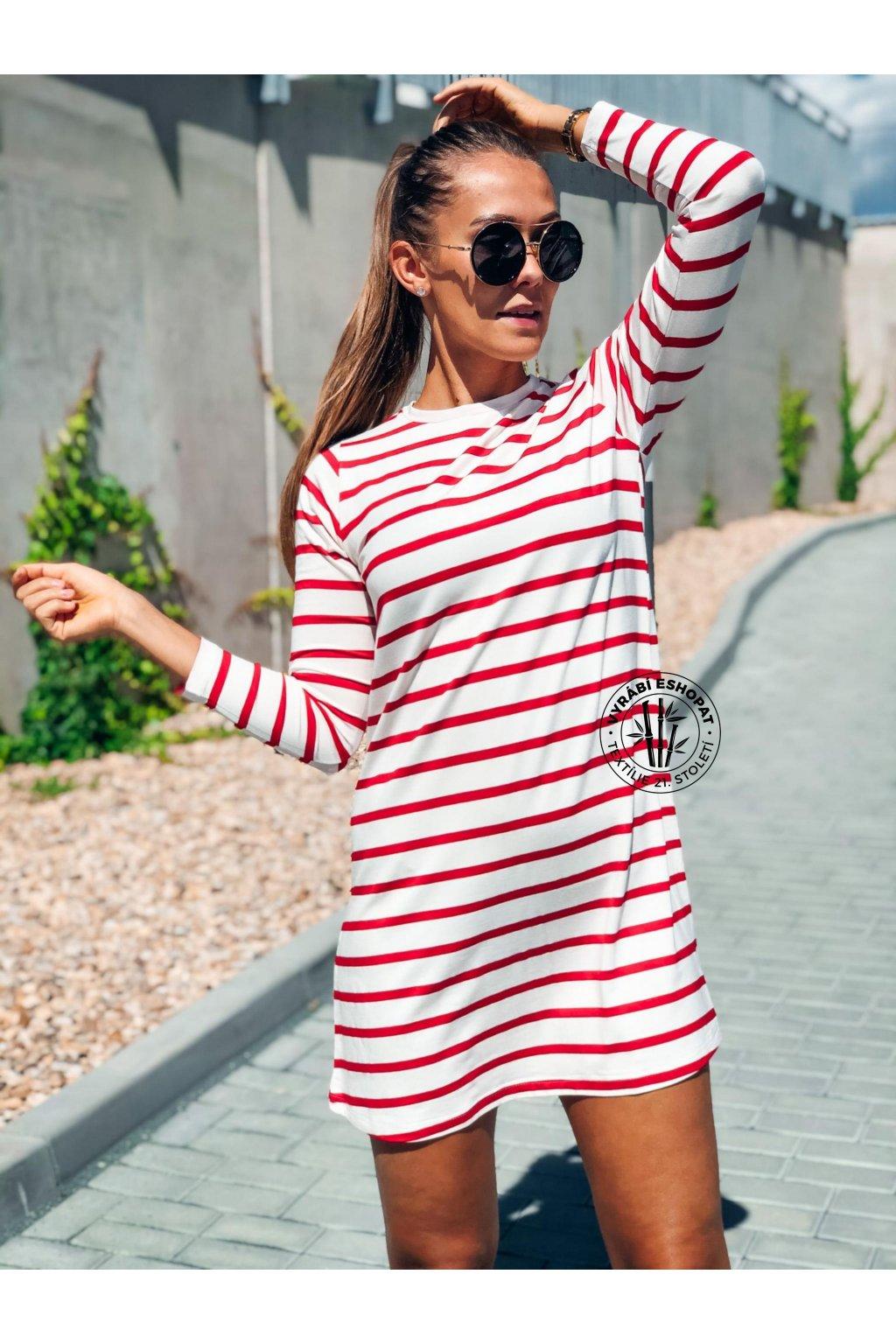 eshopat cz damske saty basic bamboo long sleeve stripe red