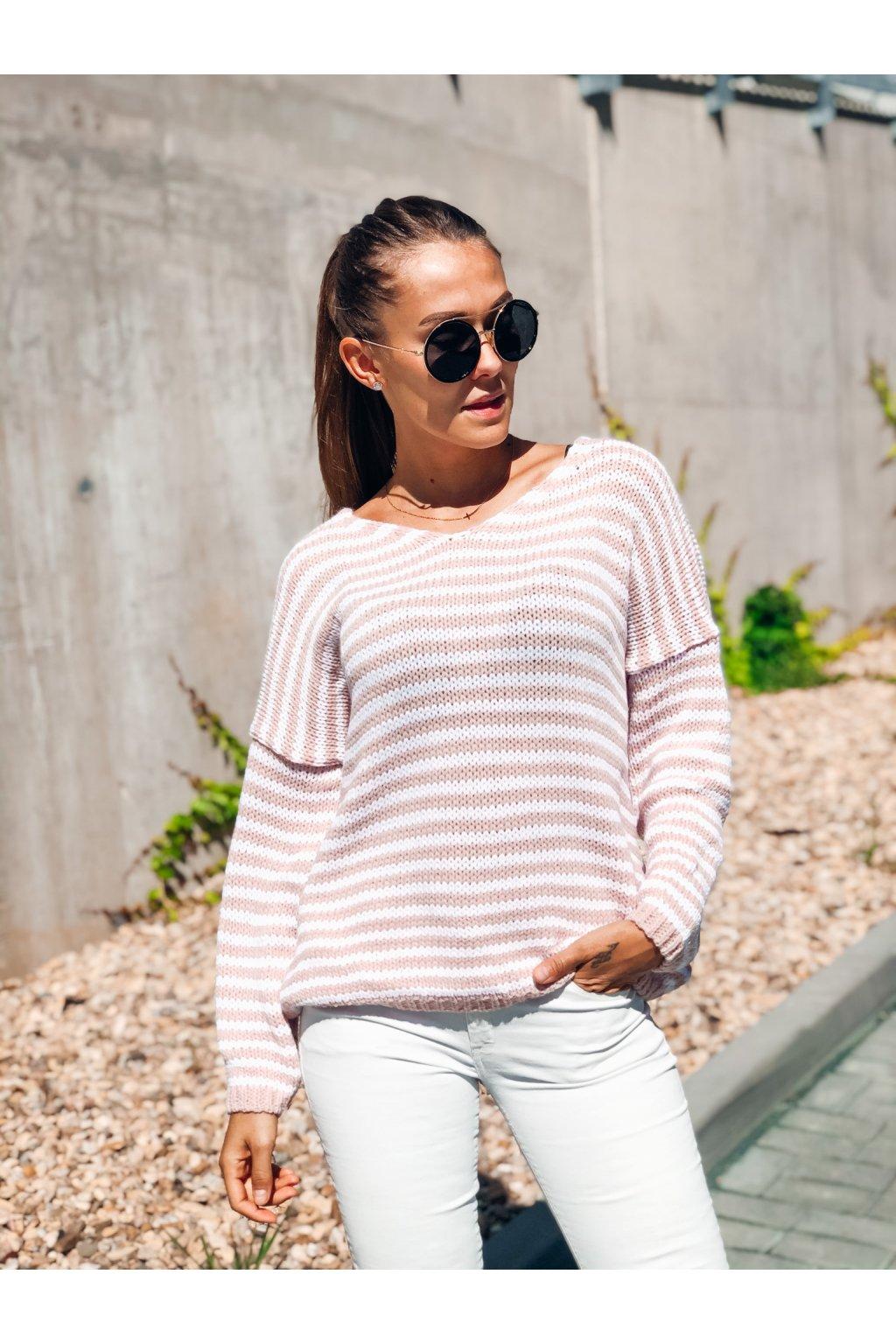 damsky svetr v classic stripe pink eshopat cz 1