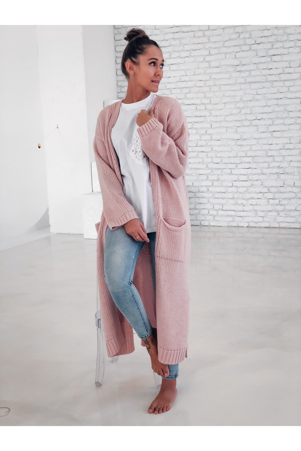 damsky cardigan long powder pink eshopat cz 1