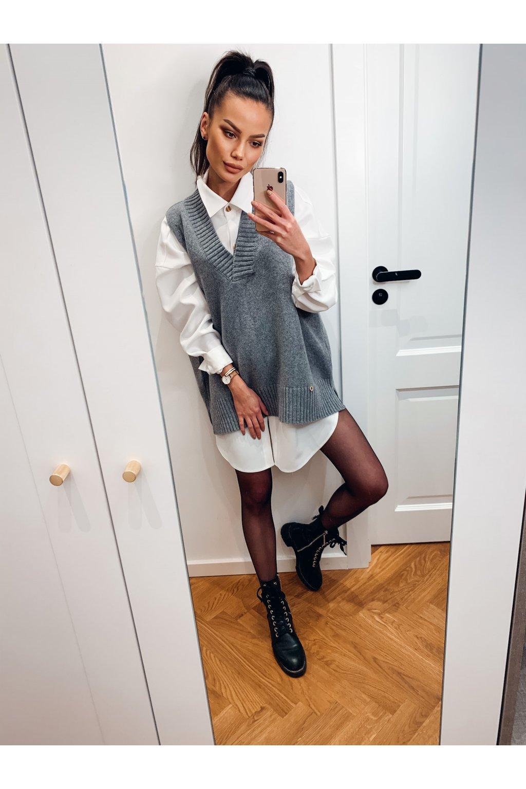 damska pletena vesta grey eshopat cz 2