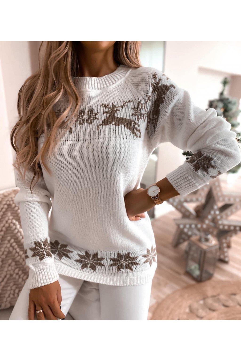 damsky svetr christmas reindeer white eshopat cz 1