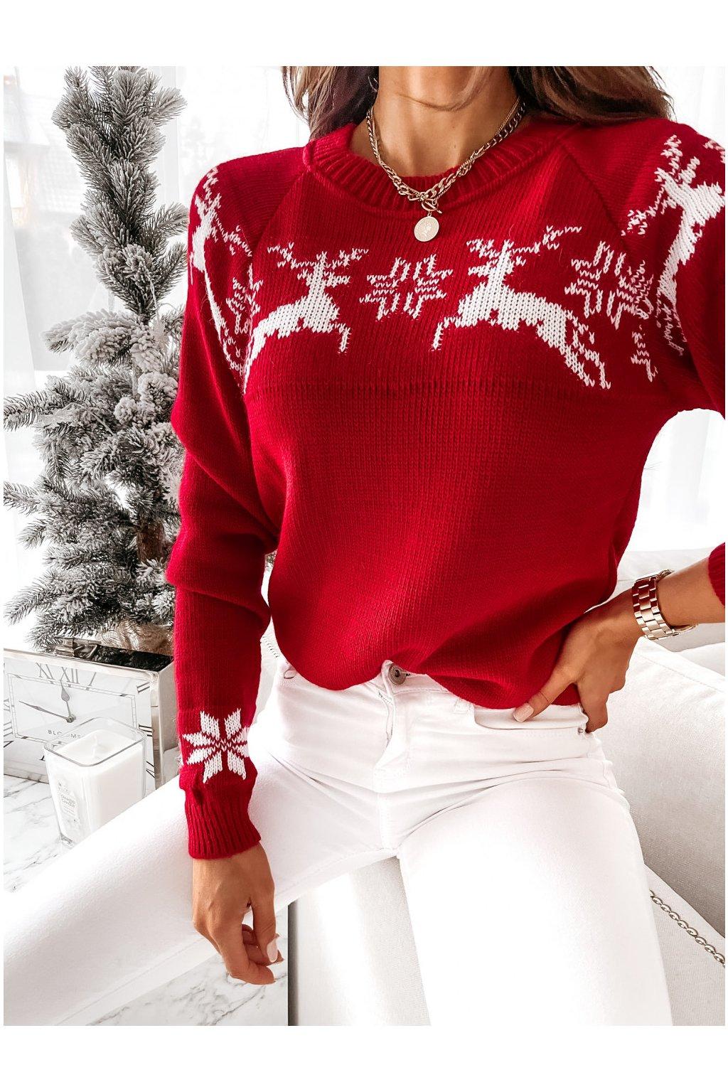 damsky svetr christmas reindeer red eshopat cz 1