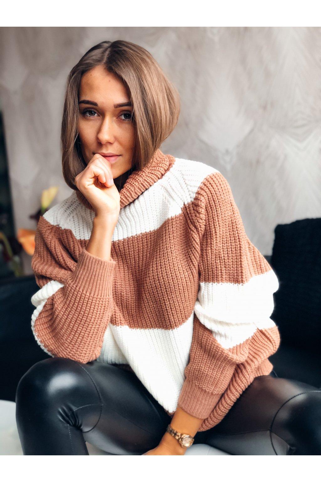 damsky rolakovy svetr stripe caramel eshopat cz 1
