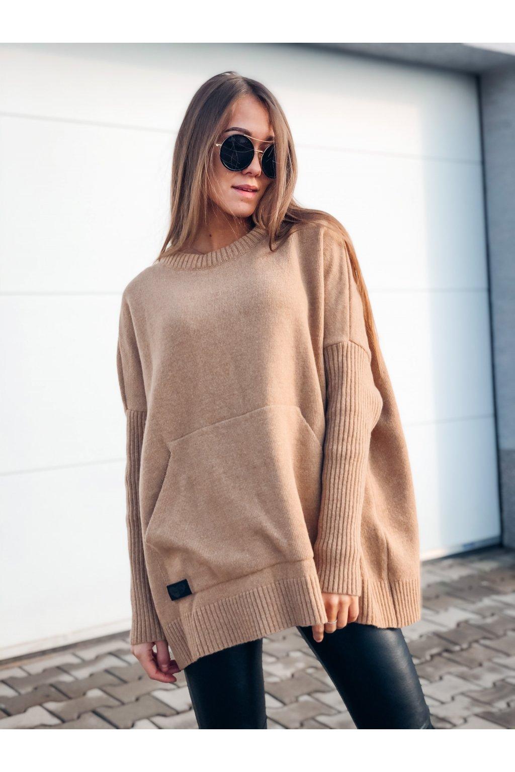 damsky svetr s kapsou mocca eshopat cz 1