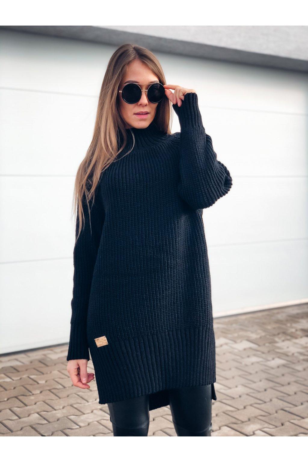 damsky prodlouzeny svetr black eshopat cz 1